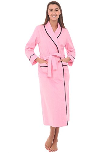 Alexander Del Rossa Womens Cotton Robe, Lightweight Woven Bathrobe, 2XL Pink with Small White Dots (A0515R552X) - Size Cotton Coat Plus