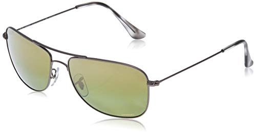 Ray-Ban RB3543 Chromance Mirrored Aviator Sunglasses, Matte Gunmetal/Polarized Green Mirror, 59 mm (Ray Ban Online Shop)