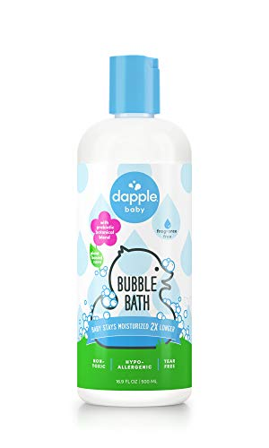 DAPPLE Baby Bubble Bath, Fragrance Free, 16.9 Fluid Ounces, Sulfate-Free, Hypoallergenic, Baby Bubble Bath, Bubble Bath for Kids, Moisturizing Bubble Bath, Single