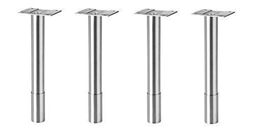 IKEA Godmorgon Furniture Legs, Round, Stainless Steel - Set of 4 (8 5/8