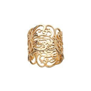 So Chic Jewels - 18K Gold Plated Arabesque Bohemian Flower Ring - Size 5.5
