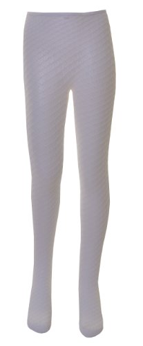 1 Pair of Girls Diamond Polymide Lace Tights Age 11 to 13 White by Nifty Kids