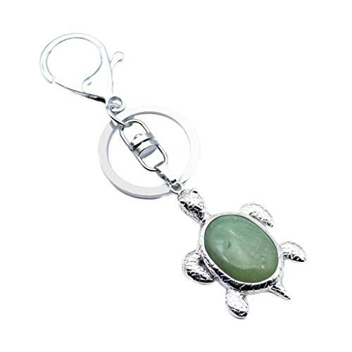 Natural Crystal Gemstone Women Girl Cute Little Turtle Pendant Key Chain (Color - Green Aventurine) -