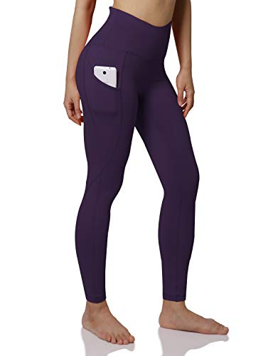 ODODOS Women's High Waist Yoga Pants with Pockets,Tummy Control,Workout Pants Running 4 Way Stretch Yoga Leggings with Pockets,DeepPurple,Medium from ODODOS