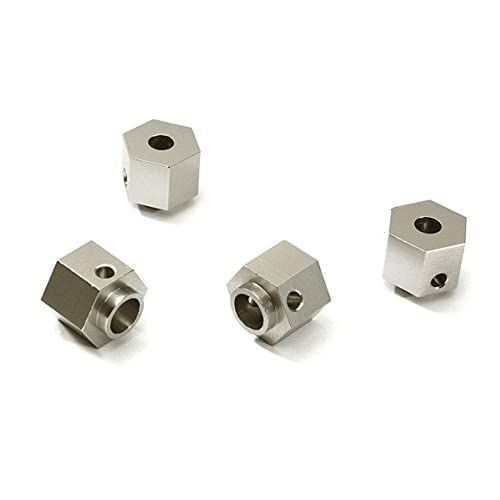 Integy RC Model Hop-ups C28238SILVER Alloy Machined 12mm Hex Wheel (4) Hub 9mm Thick for Traxxas TRX-4 Scale Crawler