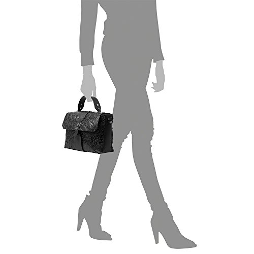 Italy Trenzado Cuero Camel Vera Hombro Made Black Mujer 27x19x10 Pelle Genuino Color Grabado bolso Mano Cm bolso Mujer In Firenze Artegiani brown Bolso Lacado Italiana Auténtica De Piel qwUzY