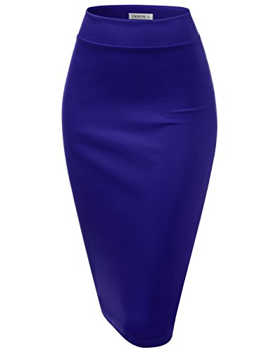CLOVERY Women's Elastic Waist Stretch Bodycon Midi Pencil Skirt RoyalBlue L ()