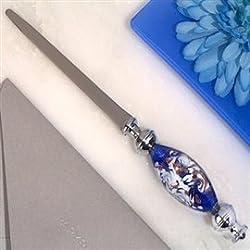 1 Dazzling Murano Art Blue and White Letter Opener