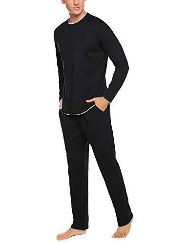 Aibrou Men's Cotton Pajamas Set Long Sleeve Pjs Sleepwear Lounge Set Raglan Shirt and Pants