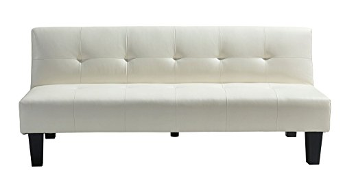 Italian Leather Daybed (Westwood Lisbon White Faux Leather 69-inch Sleeper Sofa)