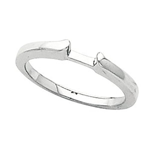 White Gold Cathedral Engagement Polished Ring or Band -