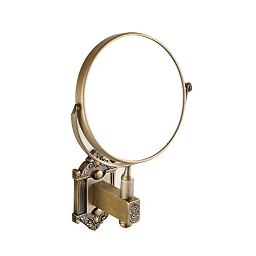 FANXU Two-Sided Swivel Wall Mount Mirror With 3x Magnification, Copper Brushed Mirror (2 Colours)6 Inches (Size : Bronze)