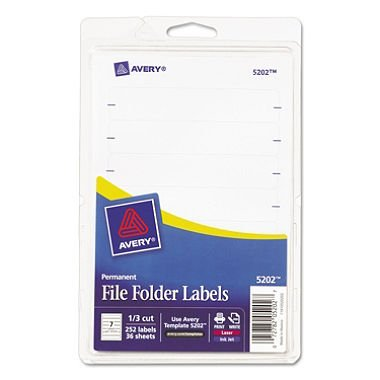 3 X Avery File Folder Labels, Laser and Inkjet Printers, 1/3 Cut, White, Pack of 252 (05202)