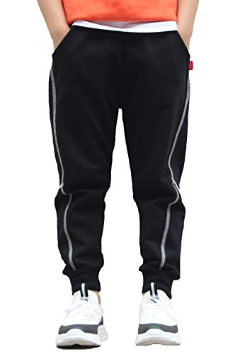 BASELE Boy's Black Fashion Casual Cotton Sweatpants Slim Fit Athletic Drawstring Jogger Pants Size 10
