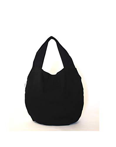 Black hobo bag for women - Everyday slouchy handbag - Casual shoulder shopper - Soft canvas market tote