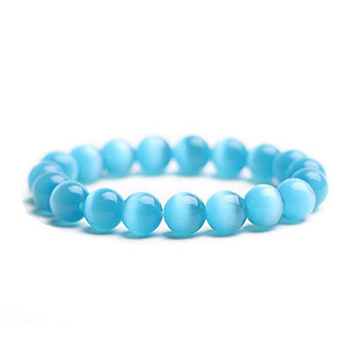 Beads Bracelet J.Fée Elastic Stretch Bracelet Blue Cat Eye's Stone Adjustable Beads Bracelet 8mm Natural Round Semi Precious Bracelet Healing Gemstone Bracelet Mother's Day Birthday Gift for Women Men ()
