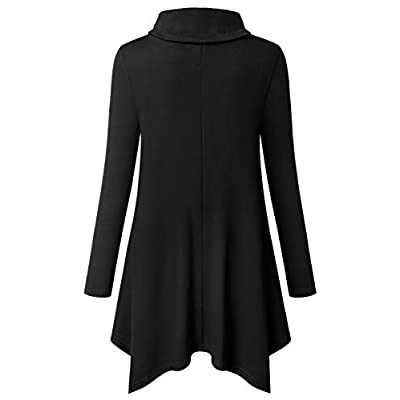 Bulotus Women's Long Sleeve Cowl Neck Asymmetrical Hem Tunic Tops with Pockets at Women's Clothing store