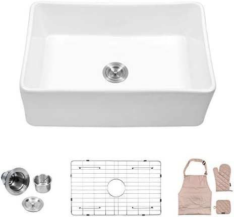 Lordear 30 Inch Farmhouse Sink, Single Bowl Fireclay Farmhouse Sink Apron-Front Kitchen Sink