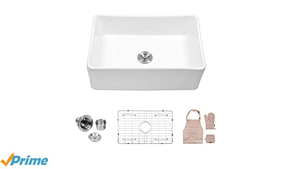 Lordear 30 Single Bowl Farmhouse Law3020r1 White Porcelain Ceramic