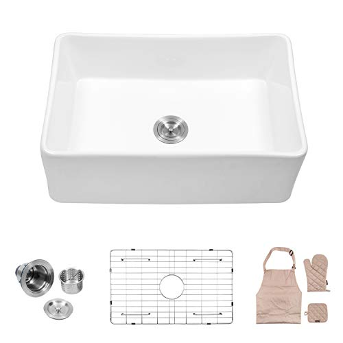 "Lordear 30"" Single Bowl Farmhouse, White Porcelain Ceramic Apron-Front Fireclay Single Bowl Kitchen Sink"