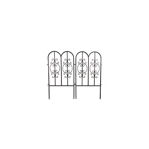 Plow & Hearth 51541-GUN Montebello Iron Metal Scroll Outdoor Short Garden Fence, Set of 2, 18'' L x 34'' H, Burnished Bronze Finish by Plow & Hearth