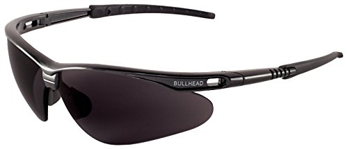 Bullhead Safety Eyewear BH61712 Safety Glass, Stinger, One Size, Dark Gray Frame/Temples/Polarized Smoke - Bullhead Sunglasses