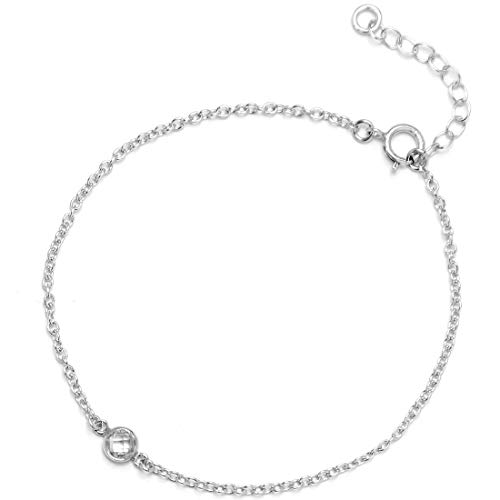 "Bracelet For Women Girls - 14K Gold Filled, 925 Sterling Silver, Rose Gold Filled, AAA Cubic Zirconia CZ, Dainty Chain Jewelry For Stacking Layering, Made In USA, 6.5""-7.5"