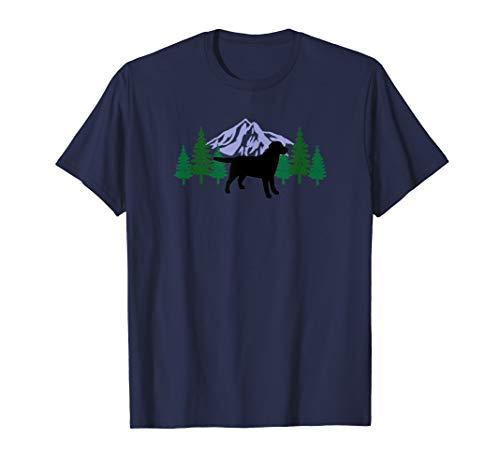 Black Labrador Retriever Outline Silhouette Evergreen Tshirt