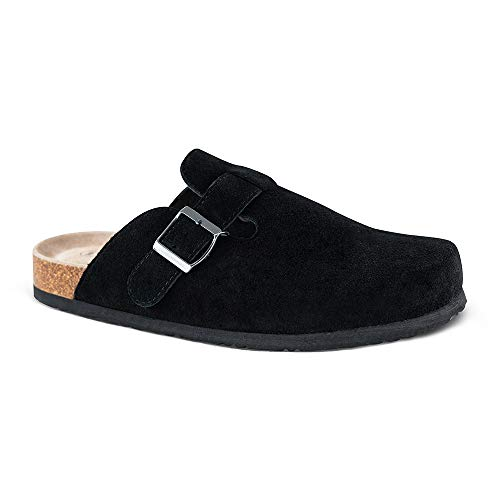 Unisex Boston Soft Footbed Clog,Suede Leather Clogs, Cork Clogs Shoes for Women Men,Antislip Sole Slippers Mules Black ()