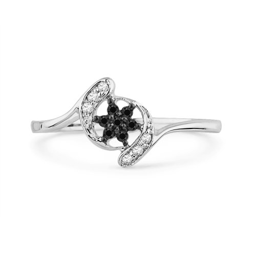 10KT White Gold Black and White Round Diamond Twisted Fashion Ring 1 10 cttw