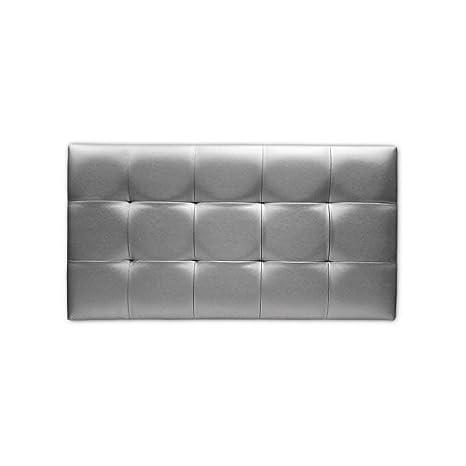 Ventadecolchones - Cabecero de Cama Tapizado Acolchado de Dormitorio en Polipiel con capitoné Modelo Tablet en Color Plata y Medidas 180 x 70 cm para ...