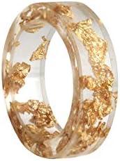 Crintiff Bague Minimaliste Chic et Transparent avec Paillettes d/'Or Jaune et argent/és Fait Main.