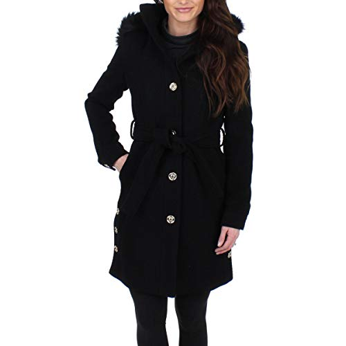 Ivanka Trump Women's Wool Blend Faux Fur Trim Hooded Midi Coat Black Size 2