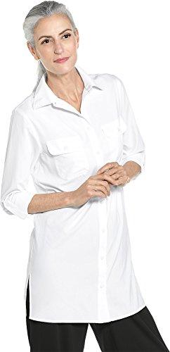 Coolibar UPF 50+ Women's Santorini Tunic Shirt - Sun Protective (3X- White) ()