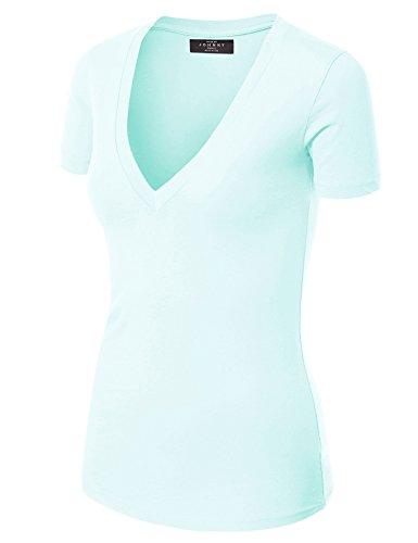 (Made By Johnny WT3 Womens Basic Fitted Soft Short Sleeve Deep V Neck T Shirt L LIGHTBLUE)