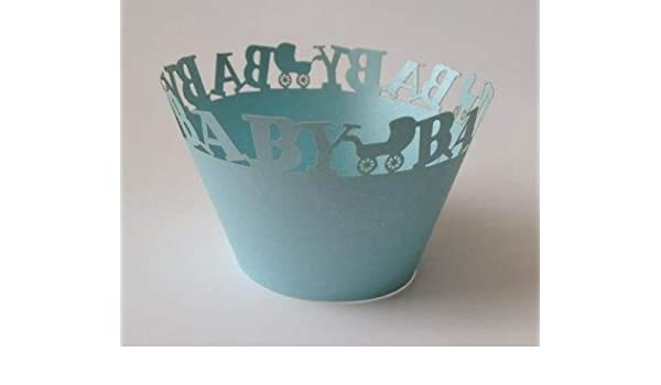 12 pcs mini cochecito de bebé envoltorios para cupcakes (envoltorio para tamaño mini Cupcake Liners (elegir color) (azul): Amazon.es: Hogar