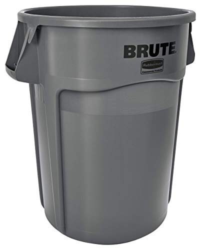 Rubbermaid Commercial Products FG264360GRAY BRUTE Heavy-Duty Round Trash/Garbage Can, 44-Gallon, Gray (Renewed) ()