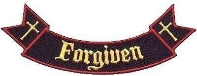 Ribbon Rocker Forgiven Bible Christian Church Jesus Biker Vest Patch! PAT-1532 ()