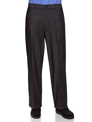 AKA Half Elastic Wrinkle Free Flat Front Men's Slacks – Relaxed Fit Twill Casual Pant Black Denim 36W x 30L by AKA (Image #4)