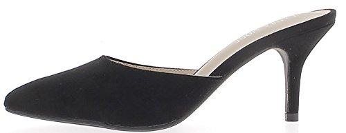 Mules femme noires aspect daim à talon fin de 8 cm