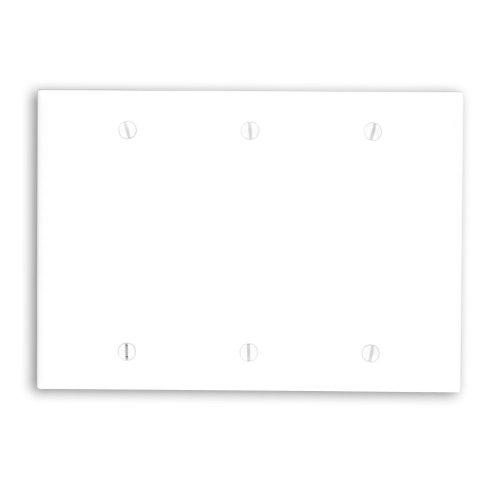Leviton 88033 3-Gang No Device Blank Wallplate, Standard Size, Thermoset, Box Mount, White