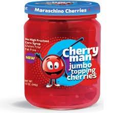 CherryMan Jumbo Topping Maraschino Cherries 12oz Jar (Pack of 6)