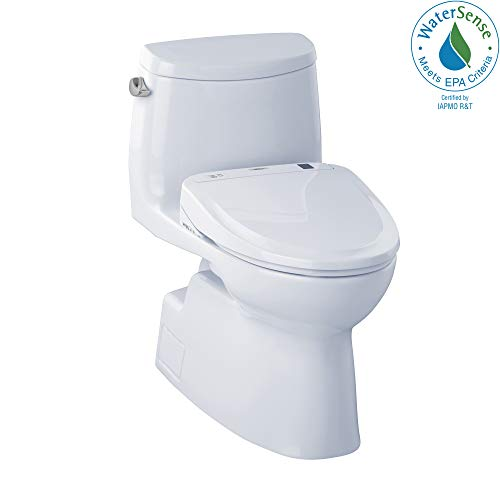 WASHLET+ Carlyle II One-Piece Elongated 1.28 GPF Toilet and WASHLET S300e Bidet Seat, Cotton White ()