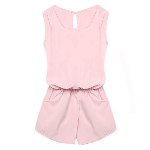 ofndd66 Casual Lady Sleeveless Backless Elastic Waist Print Mini Romper Overall Pink XXL