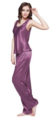 LILYSILK Conjunto de Camisola de Seda - 100% Seda de Mora Natural de Seda, Super Comoda y Transpirable - Un Top de Seda y Un Pantalón Largo de Seda Violeta