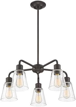 Trade Winds Lighting TW10051ORB 5-Light Vintage Rustic Industrial Chandelier Ceiling Light with Clear Seeded Glass, 60 Watts, in Oil Rubbed Bronze