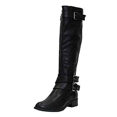 Amazon.com | Soda Women's Faux Leather Buckle Knee High Riding ...