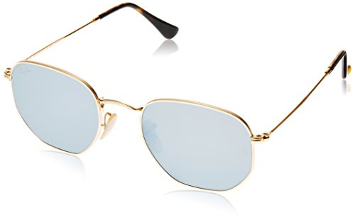Ray-Ban RB3548N 001/9O Non Pol Sunglasses Gold Frame/ Light Blue Lenses - Ban Styles Ray Mens
