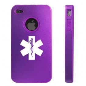Apple iPhone 4 4S 4G Purple D2015 Aluminum & Silicone Case Cover Star of Life EMT