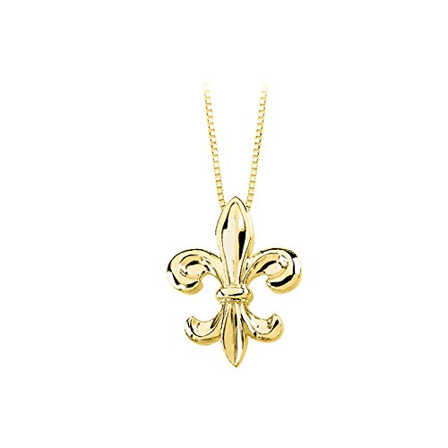 "'Fleur-De-Lis"" Pendant with Chain ( 14K Yellow/White Gold or Sterling Silver)"